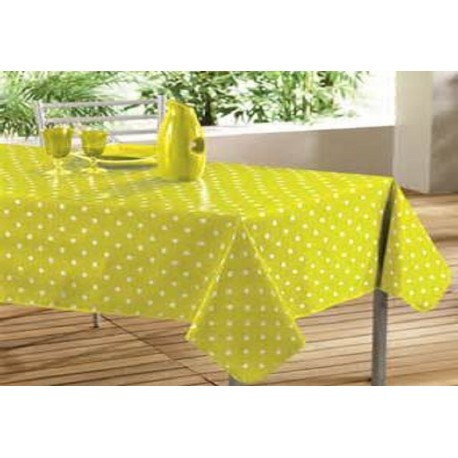 NAPPE TOILE CIREE VERS ANIS à POIS ALINE ANIS RONDE OVALE RECTANGLE CARREE