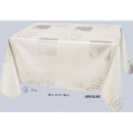 NAPPE TOILE CIREE VERA BLANC RONDE OVALE RECTANGLE CARREE