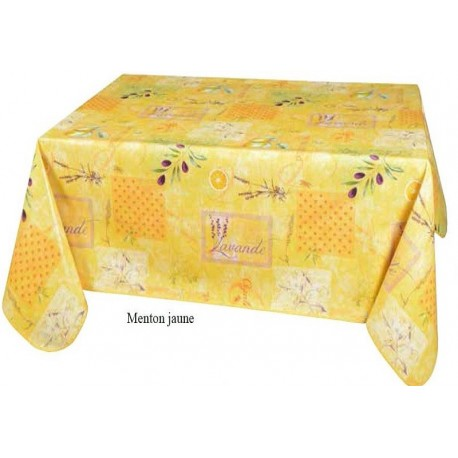 NAPPE TOILE CIREE MENTON JAUNE RONDE RECTANGLE CARRE OVALE