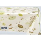 NAPPE EN TOILE CIREE FEUILLE NATUREL 160 CM DE LARGE