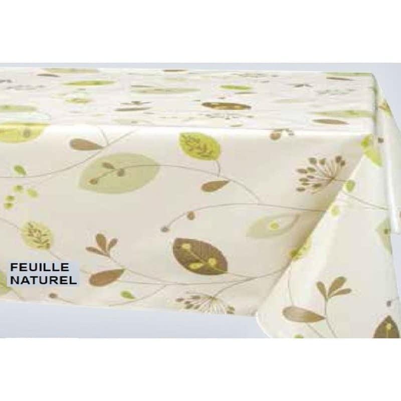 nappe en toile cir e fond beige feuille verte et marron 160cm largeur. Black Bedroom Furniture Sets. Home Design Ideas