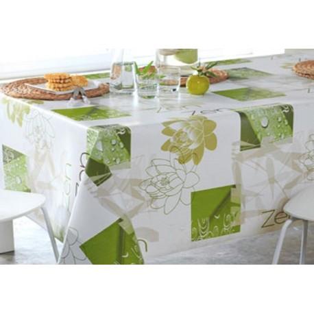 nappe en toile cir e largeur 160 cm fleurs vert blanc motifs zen. Black Bedroom Furniture Sets. Home Design Ideas