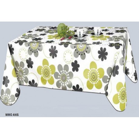 nappe en toile cir e fleurs grise et anis sur fond blanc 160 cm large. Black Bedroom Furniture Sets. Home Design Ideas