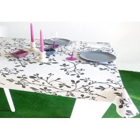nappe en coton enduit de qualit sup rieur anti t che feuille noir. Black Bedroom Furniture Sets. Home Design Ideas