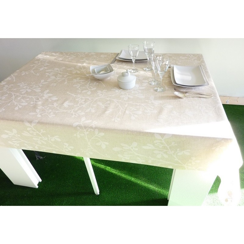 nappe en coton enduit de qualit sup rieur anti t che feuille blanche. Black Bedroom Furniture Sets. Home Design Ideas