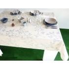 NAPPE ENDUITE TISSU ENDUIT 160 FEUILLE BLEU/GRIS SUR MESURE GRANDE LARGEUR