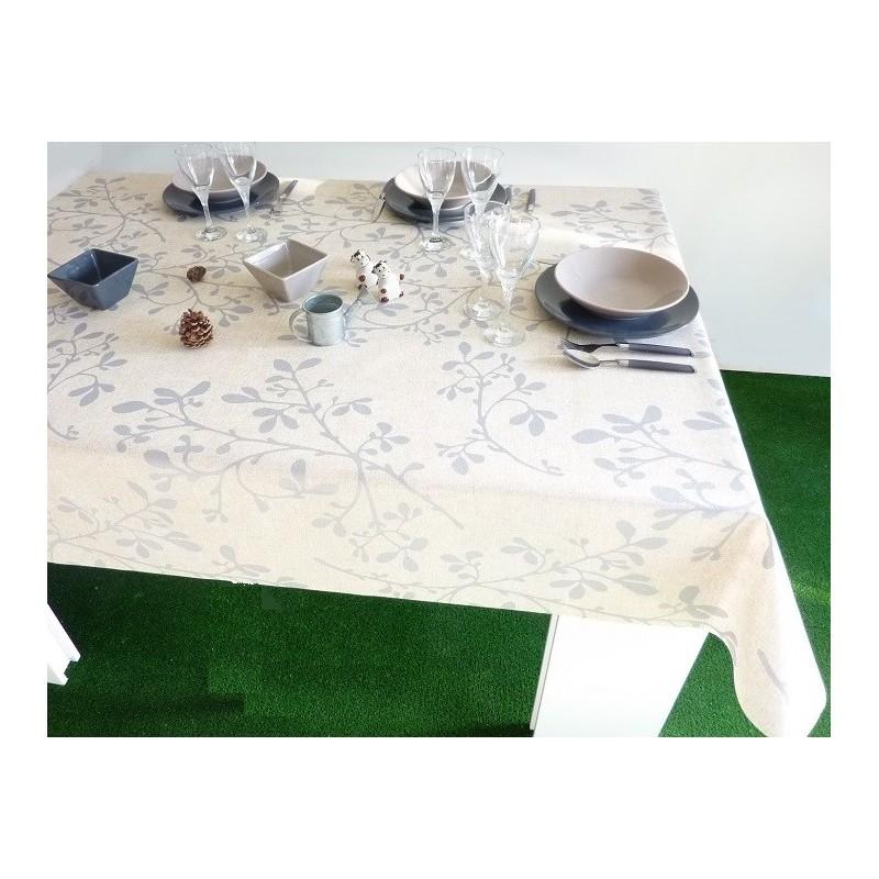 nappe en tissu enduit beige jolis branches gris bleut 160. Black Bedroom Furniture Sets. Home Design Ideas