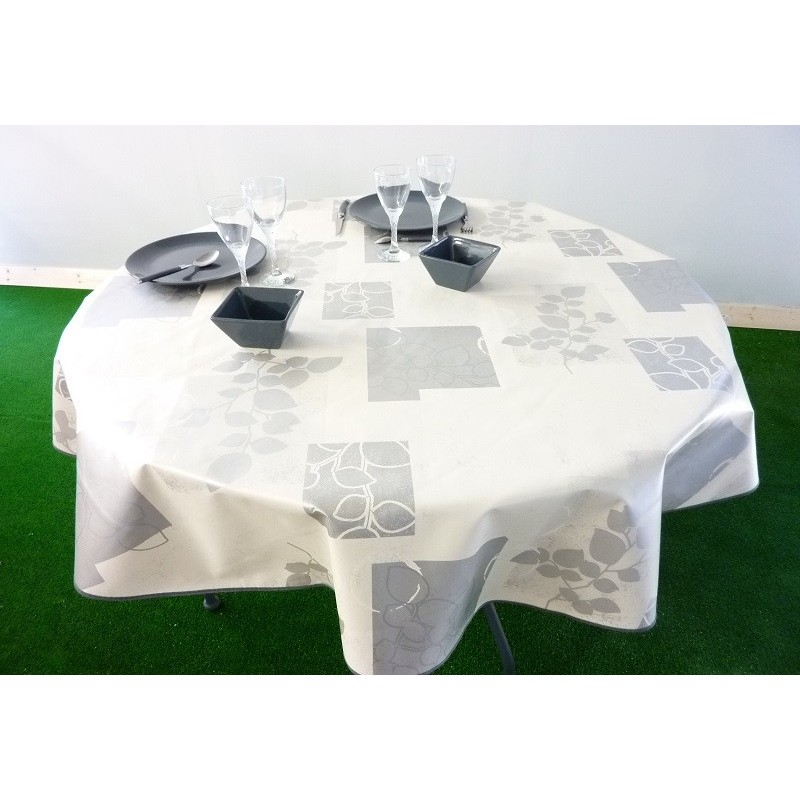 nappe ronde vera blanc diam tre 160 de couleur blanche avec motif gris. Black Bedroom Furniture Sets. Home Design Ideas