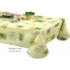NAPPE EN TOILE CIREE 140 CM DE LARGE FREJUS VERT ROND OVALE CARRE RECTANGLE