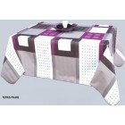 NAPPE EN TOIL CIREE TETRIS PRUNE 180 CM DE LARGE