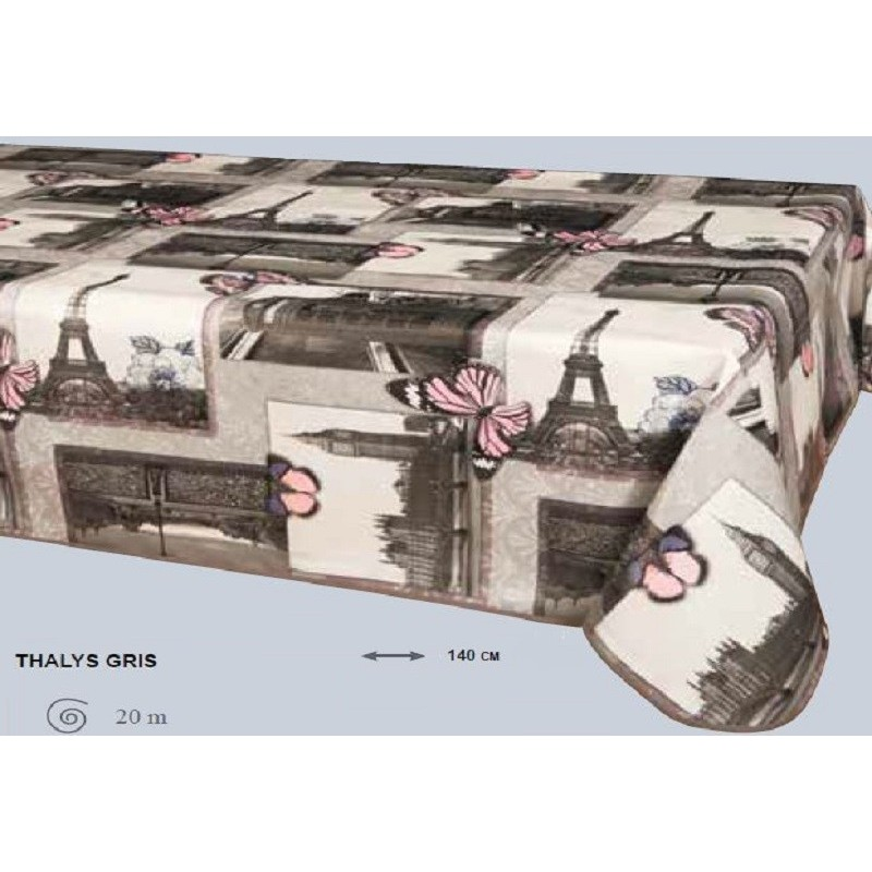 nappe en toile cir e papillons tour eiffel largeur en 140 cm. Black Bedroom Furniture Sets. Home Design Ideas