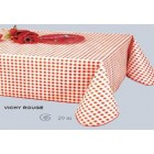 NAPPE 140 CM DE LARGE EN TOILE CIREE VICHY ROUGE