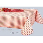 NAPPE 140 CM DE LARGE EN TOILE CIREE VICHY ROUGE RONDE OVALE RECTANGLE CARRE