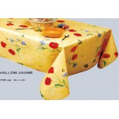NAPPE EN TOILE CIREE 140 CM DE LARGE VALLON JAUNE RONDE OVALE RECTANGLE CARRE