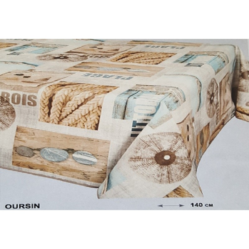 nappe en toile cir e th me plage bleu beige lasur blanc. Black Bedroom Furniture Sets. Home Design Ideas