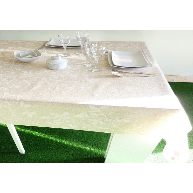 nappe en coton enduit 160 cm de large feuille blanche. Black Bedroom Furniture Sets. Home Design Ideas