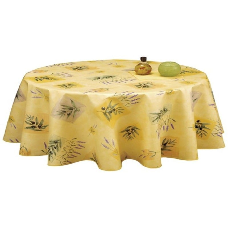 nappe ronde en toile cir e jaune provence grande largeur 180cm. Black Bedroom Furniture Sets. Home Design Ideas