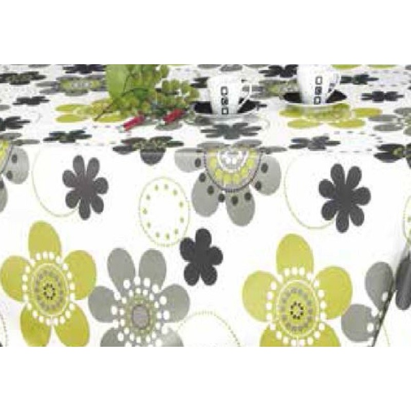 nappe ronde en toile cir e fleurs grise et anis sur fond blanc 160 cm. Black Bedroom Furniture Sets. Home Design Ideas