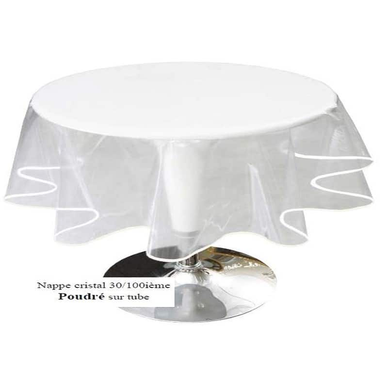 Nappe ronde cristal transparent 30 100 diam tre 1m60 - Protection de table transparente ...