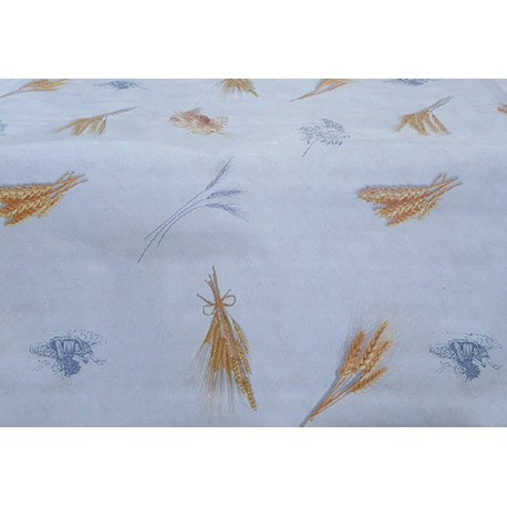 TOILE CIREE 180 CM DE LARGE CEREAL BLE