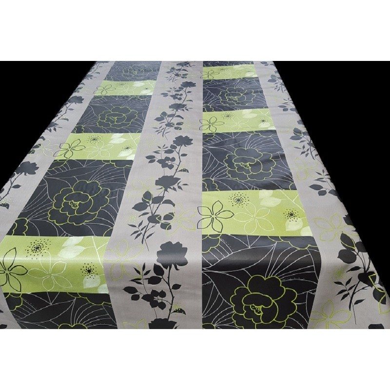 nappe en toile cir e ovale fonds gris et noir avec de jolies fleurs. Black Bedroom Furniture Sets. Home Design Ideas