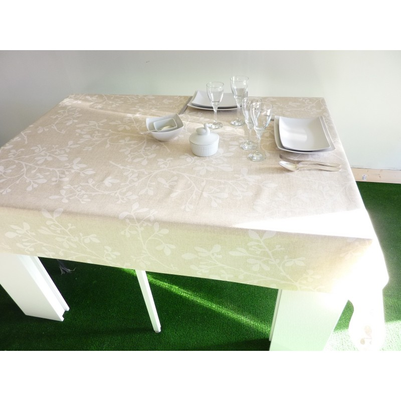 rouleau de 20 m tres de nappe en coton enduit 160 cm feuille blanche. Black Bedroom Furniture Sets. Home Design Ideas