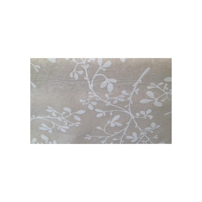 rouleau de 20 m tres de nappe en coton enduit 160 cm feuille blanche. Black Bedroom Furniture Sets. Home Design Ideas