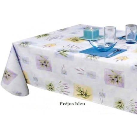 nappe grande largeur en toile cir e bleut provence 180cm. Black Bedroom Furniture Sets. Home Design Ideas