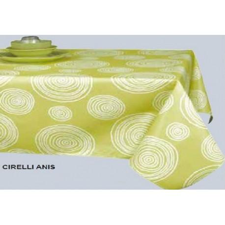 NAPPE  grande largeur 180 cm en toile cirée cirelli anis RONDE OVALE RECTANGLE CARREE