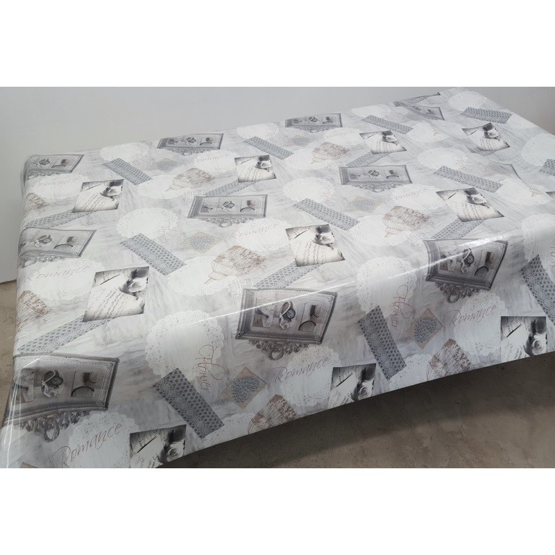 nappe en toile cir e laqu d grad de gris avec de jolis motif vintage. Black Bedroom Furniture Sets. Home Design Ideas