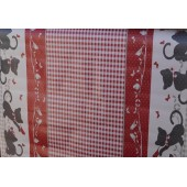 NAPPE EN TOILE CIREE CHATONS ROUGE RONDE OVALE CARRE RECTANGLE